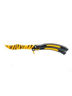 Нож-бабочка. Зуб тигра MASKBRO. Цвет: желтый