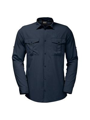 Рубашка ATACAMA ROLL-UP SHIRT Jack Wolfskin. Цвет: темно-синий