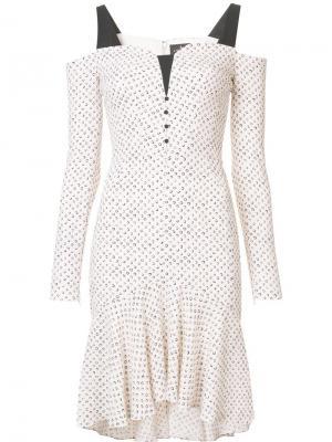 Платье с открытыми плечами J. Mendel. Цвет: белый