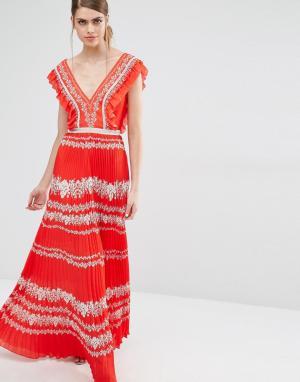 Self Portrait Шифоновое платье с цветочным принтом. Цвет: красный