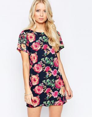 Iska Цельнокройное платье с гобеленовым цветочным принтом. Цвет: мульти