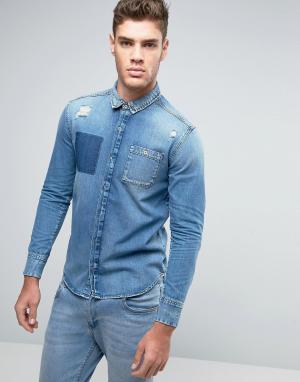 Calvin Klein Jeans Узкая джинсовая рубашка с рваной отделкой. Цвет: синий