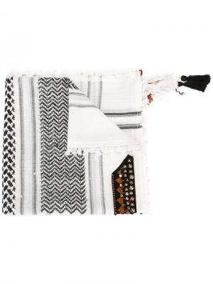 Шарф в этническом стиле Bazar Deluxe. Цвет: белый