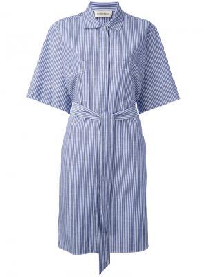 Полосатое платье-рубашка By Malene Birger. Цвет: синий