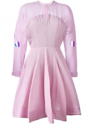 Расклешенное платье Natasha Zinko. Цвет: розовый и фиолетовый