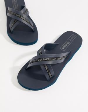 Versace Jeans Темно-синие шлепанцы с логотипом Armani. Цвет: темно-синий