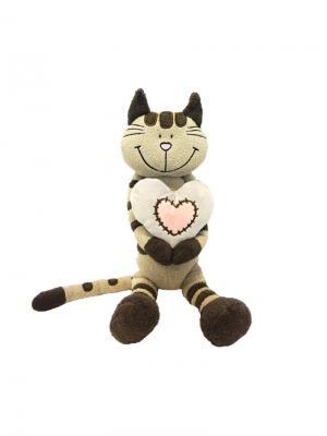Мягкая Игрушка Кот Полосатик с Сердцем, 33 см MAXITOYS. Цвет: серо-коричневый, бледно-розовый, серый