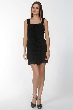 Короткое платье с воланом Olinvnas. Цвет: черный