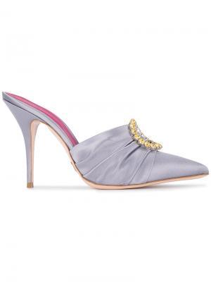 Мюли Eva 100 с кристаллами Oscar Tiye. Цвет: розовый и фиолетовый
