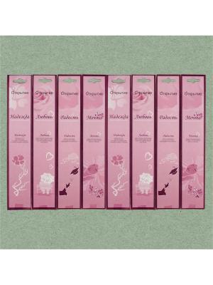 Набор аромапалочек Открытие, 8 штук: 4 аромата по 2 шт Индокитай. Цвет: розовый, бордовый