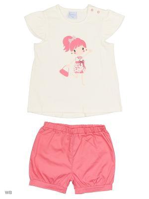 Футболка и шорты Cutie Bear. Цвет: розовый, белый