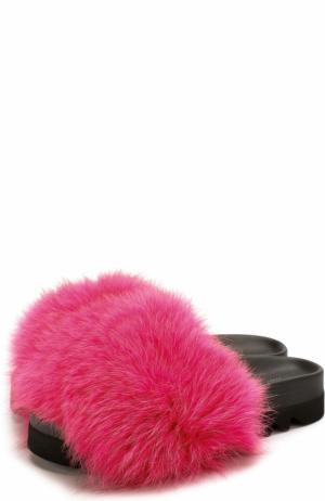 Кожаные шлепанцы с отделкой из меха лисы Joshua Sanders. Цвет: розовый