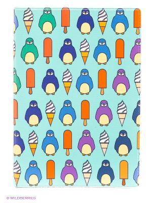 Обложка для автодокументов Пингвины и эскимо Mitya Veselkov. Цвет: бирюзовый, оранжевый, синий