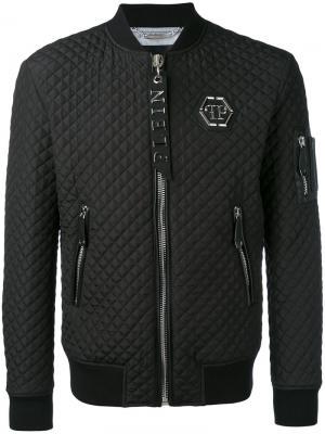 Стеганая куртка-бомбер Philipp Plein. Цвет: чёрный