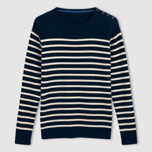 Пуловер в полоску 100% хлопка, с круглым вырезом и пуговицами на плечах R essentiel. Цвет: темно-синий в полоску экрю