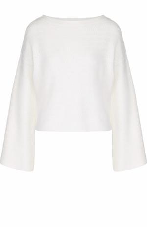Пуловер фактурной вязки с вырезом-лодочка Alice + Olivia. Цвет: белый