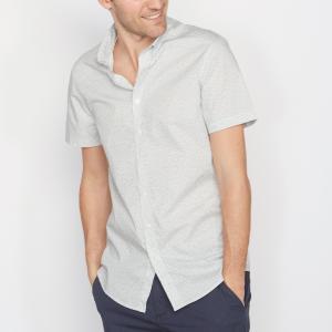 Рубашка с рисунком и короткими рукавами La Redoute Collections. Цвет: светло-серый