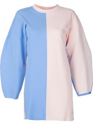 Платье с закругленными широкими рукавами Arthur Arbesser. Цвет: синий
