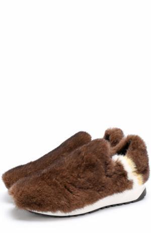 Кросcовки с отделкой из меха норки Joshua Sanders. Цвет: коричневый