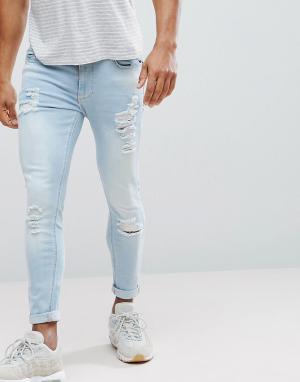 11 Degrees Голубые рваные джинсы скинни. Цвет: черный