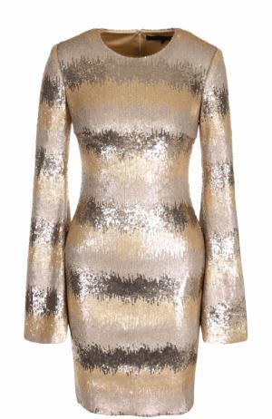 Приталенное мини-платье с пайетками и длинным рукавом Rubin Singer. Цвет: золотой