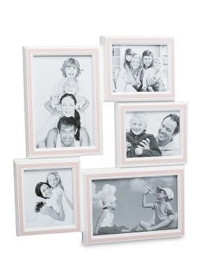 Фоторамка настенная Наша радость на 5 фото Bellezza casa. Цвет: розовый