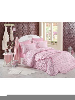 Кпб 2 сп. (Евро) поплин LUISA ,розовый HOBBY HOME COLLECTION. Цвет: розовый