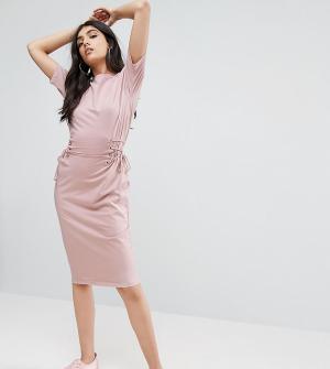 ASOS Tall Платье-футболка миди с отделкой в стиле корсета. Цвет: розовый