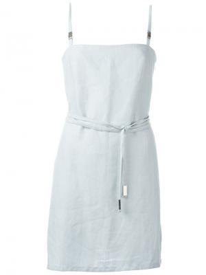 Платье мини с ремнем Jean Louis Scherrer Vintage. Цвет: синий