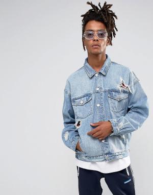 Cayler & Sons Состаренная джинсовая куртка. Цвет: синий