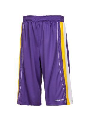 Баскетбольные игровые шорты Advance 2K. Цвет: фиолетовый, желтый, белый