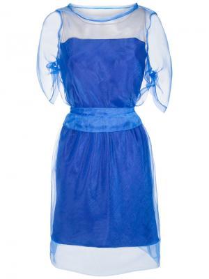 Sheer layered dress Gloria Coelho. Цвет: синий