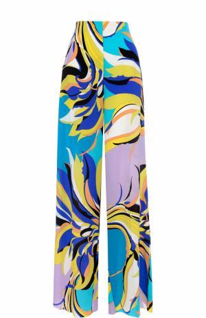 Шелковые брюки прямого кроя с ярким принтом Emilio Pucci. Цвет: бирюзовый