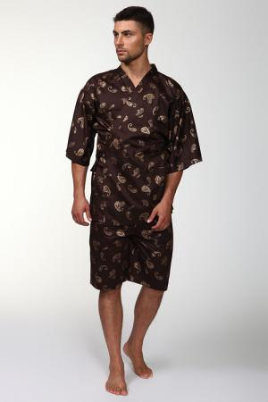 Пижама: брюки и кофта Maori. Цвет: коричневый