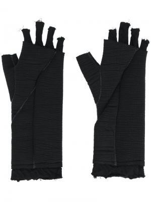 Перчатки без пальцев с эффектом потертости Thom Krom. Цвет: чёрный