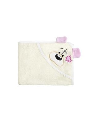 Полотенце с капюшоном FUN DRY МИШКИ, цвет Светло-бежевый  розовыми ушками Twinklbaby. Цвет: светло-бежевый
