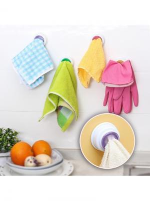 Набор держателей для полотенец Монпансье RUGES. Цвет: зеленый, оранжевый, темно-фиолетовый