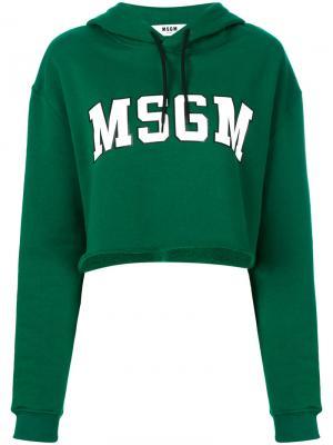 Толстовка с принтом логотипом MSGM. Цвет: зелёный