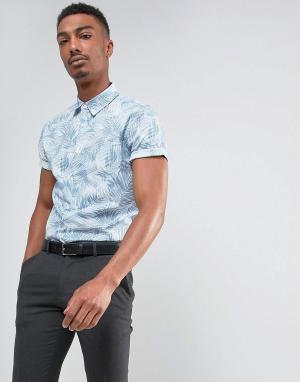 Burton Menswear Облегающая рубашка с короткими рукавами и принтом. Цвет: серый