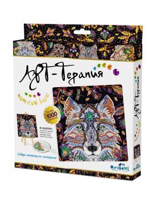 Арт-терапия. Мозаика. Алмазные узоры. Ночной Волк Origami. Цвет: черный, белый, золотистый