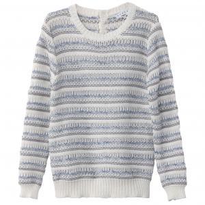 Пуловер хлопковый с круглым вырезом SUNCOO. Цвет: в полоску/фон экрю