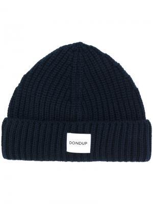 Вязаная шапка с логотипом Dondup. Цвет: синий