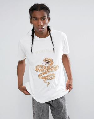 Maharishi Футболка с вышивкой в виде змеи. Цвет: белый