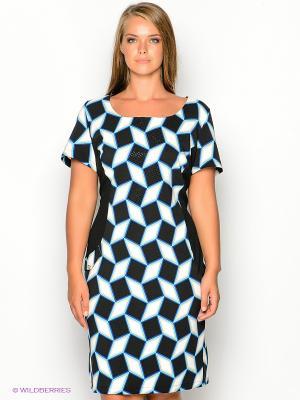 Платье Gemko plus size. Цвет: бирюзовый, черный, белый, синий