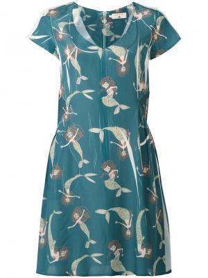 Платье с принтом русалок Cotélac. Цвет: синий