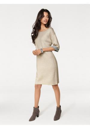 Платье PATRIZIA DINI. Цвет: песочный, серо-коричневый, черный