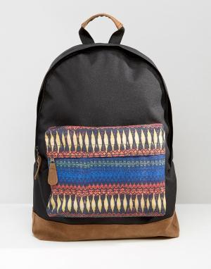7X Рюкзак с принтом на кармашке. Цвет: черный