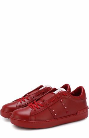 Кожаные кеды  Garavani Rockstud Untitled Valentino. Цвет: красный