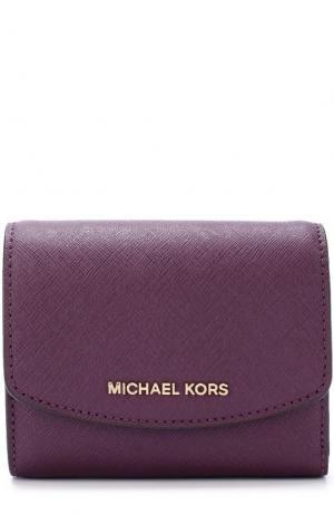 Кожаный кошелек с клапаном и логотипом бренда MICHAEL Kors. Цвет: фиолетовый