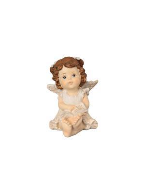 Фигурка декоративная Ангелочек с книгой Elan Gallery. Цвет: бежевый, золотистый, коричневый